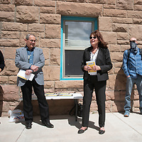 Gallup City Manager Maryann Ustick speaks at the Lexington Hotel open house Tuesday in Gallup. The hotel will be used for transitional housing.