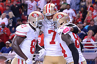 13 October 2014: San Francisco 49ers Quarterback Colin Kaepernick (7) 16242 and San Francisco 49ers Center Daniel Kilgore (67) 16277 celebrate and congratulate San Francisco 49ers Punter Andy Lee (4) 7052 for scoring a late second half touchdown in action during the Monday Night Football game between the St. Louis Rams and the San Francisco 49ers at the Edwards Jones Dome, in St. Louis, MO. NFL American Football Herren USA OCT 13 49ers at Rams PUBLICATIONxINxGERxSUIxAUTxHUNxRUSxSWExNORxONLY Icon10131472849<br />