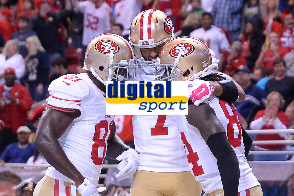 13 October 2014: San Francisco 49ers Quarterback Colin Kaepernick (7) 16242 and San Francisco 49ers Center Daniel Kilgore (67) 16277 celebrate and congratulate San Francisco 49ers Punter Andy Lee (4) 7052 for scoring a late second half touchdown in action during the Monday Night Football game between the St. Louis Rams and the San Francisco 49ers at the Edwards Jones Dome, in St. Louis, MO. NFL American Football Herren USA OCT 13 49ers at Rams PUBLICATIONxINxGERxSUIxAUTxHUNxRUSxSWExNORxONLY Icon10131472849<br /> <br /> 13 October 2014 San Francisco 49ers Quarterback Colin Käpernick 7  and San Francisco 49ers Center Daniel Kilgore 67  Celebrate and congratulate San Francisco 49ers Punter Andy Lee 4  for Scoring A Late Second Half Touchdown in Action during The Monday Night Football Game between The St Louis Rams and The San Francisco 49ers AT The Edwards Jones Dome in St Louis Mo NFL American Football men USA OCT 13 49ers AT Rams PUBLICATIONxINxGERxSUIxAUTxHUNxRUSxSWExNORxONLY