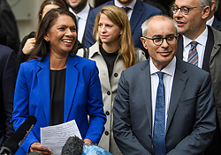 © Licensed to London News Pictures. 24/09/2019. London, UK. Businesswoman GINA MILLER (left)( is seen smiling while speaking to media as she leaves The Supreme Court in London with her lawyer LORD DAVID PANNICK QC (right) following a ruling on an appeal against a judicial review of Boris Johnson's suspension of Parliament. The case has been brought by remain campaigner Gina Miller, with support from former British Prime Minister John Major. Photo credit: Ben Cawthra/LNP