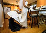 A bride gets ready at Canandaigua Lake, New York.