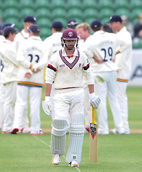 Dejection for Somerset's Alex Barrow- Photo mandatory by-line: Harry Trump/JMP - Mobile: 07966 386802 - 12/04/15 - SPORT - CRICKET - LVCC County Championship - Day 1 - Somerset v Durham - The County Ground, Taunton, England.