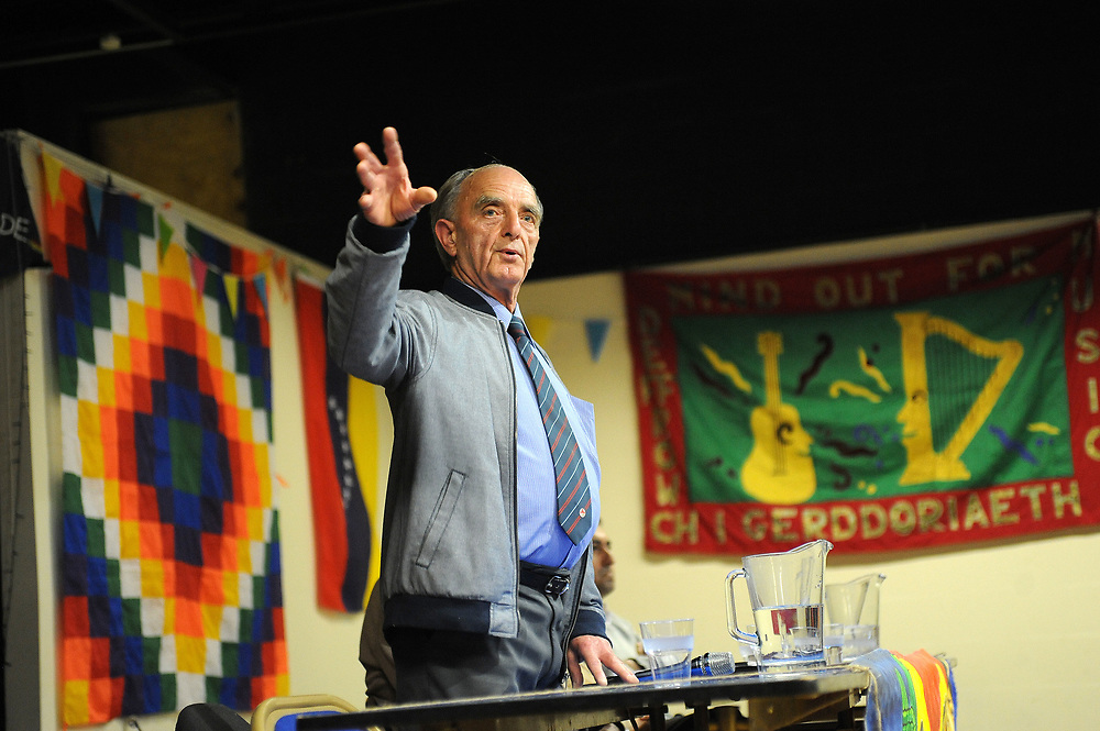 Machynlleth, Wales. 28th July, 2017. <br /> Councillor Michael Williams, speaking at the festival opening plenary session, 'Another Future is Still Possible'.<br /> Photographer; Kevin Hayes