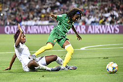 6?10??????????????????????????????????.Gabrielle Aboudi Onguene (R) of Cameroon vies with Kadeisha Buchanan (L) of Canada during..???????????????2019?6?11?.?????????——E??????????????.?????????????2019??????????E???????????1?0??????.?????????..(SP)FRANCE-RENNES-2019 FIFA WOMEN'S WORLD CUP-GROUP E-CANADA VS CAMEROON..(190611) -- MONTPELLIER, June 11, 2019  the group E match between Canada and Cameroon at the 2019 FIFA Women's World Cup in Montpellier, France on June 10, 2019. Canada won 1-0. (Credit Image: © Xinhua via ZUMA Wire)