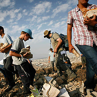 Jewish settlers at the hill of Eitam, nearby the Palestinian town of Bethlehem, September 2007.