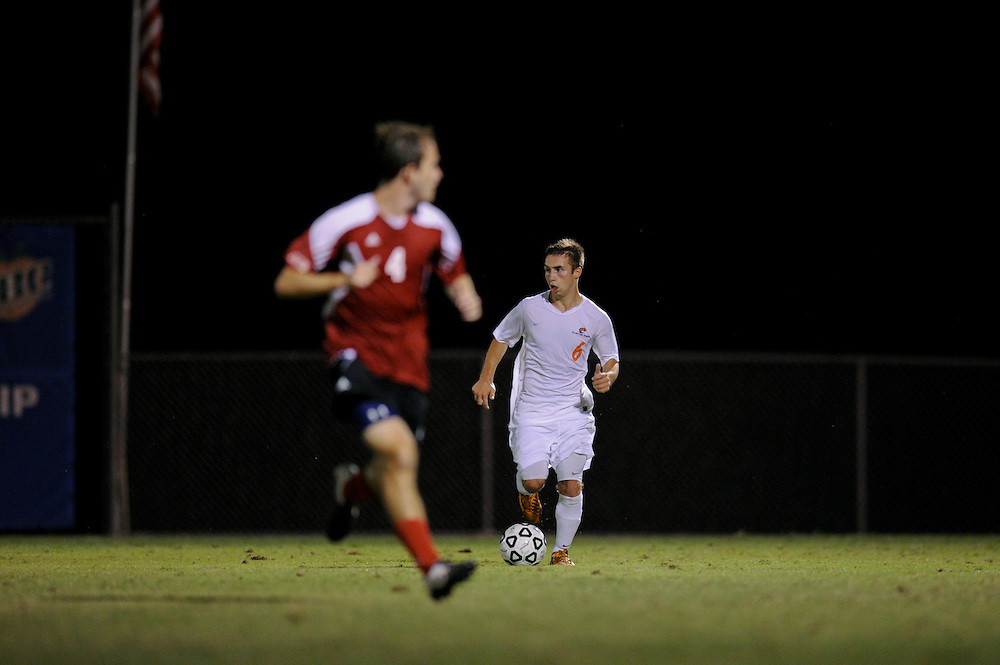 Sept. 15, 2012; Morrow, GA, USA; Clayton State men's soccer player Jonny Evans against Flagler at CSU. Photo by Kevin Liles/kdlphoto.com