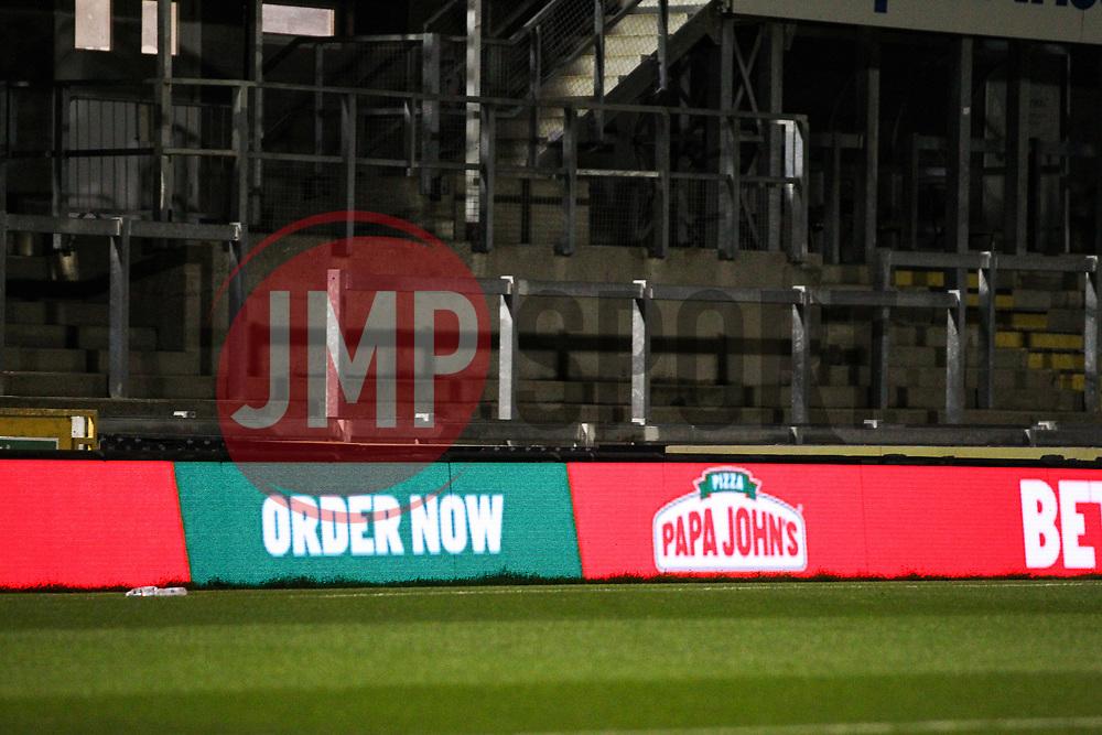 Papa John's advertisement- Mandatory by-line: Will Cooper/JMP - 18/11/2020 - FOOTBALL - Memorial Stadium - Bristol, England - Bristol Rovers v Chelsea U21 - Papa John's Trophy