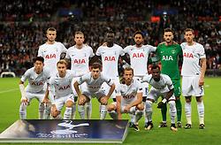 Tottenham Hotspur's team group - Back row (left to right): Eric Dier, Toby Alderweireld, Davinson Sanchez, Mousa Dembele, Hugo Lloris and Jan Vertonghen. Bottom Row (left to right): Heung-Min Son, Christian Eriksen, Ben Davies, Harry Kane and Serge Aurier