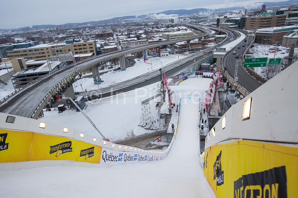 Looking down the FIS Jamboree Big Air jump on 07th February 2017 in downtown Quebec, Canada. The Canadian Jamboree is part of the ski and snowboard FIS World Cup circuit held in Quebec City and Stoneham Mountain.