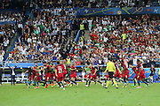 Portugal players celebrate Portugal Forward Eder goal 1-0 during the Euro 2016 final between Portugal and France at Stade de France, Saint-Denis, Paris, France on 10 July 2016. Photo by Phil Duncan.