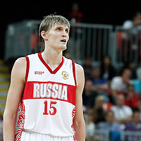04 August 2012: Russia Andrei Kirilenko rests during 77-74 Team Russia victory over Team Spain, during the men's basketball preliminary, at the Basketball Arena, in London, Great Britain.