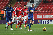 AFC Wimbledon midfielder Mitchell (Mitch) Pinnock (11) dribbling during the EFL Sky Bet League 1 match between Charlton Athletic and AFC Wimbledon at The Valley, London, England on 15 December 2018.