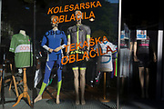 Sports clothing mannequins in a shop window on Dunajska Cesta (street) in the Slovenian capital, Ljubljana, on 27th June 2018, in Ljubljana, Slovenia.