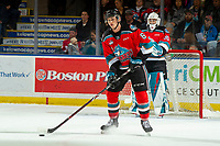 KELOWNA, BC - OCTOBER 12: Kaedan Korczak #6 of the Kelowna Rockets skates with the puck against the Kamloops Blazers at Prospera Place on October 12, 2019 in Kelowna, Canada. Korczak was selected by the Vegas Golden Knights in the 2019 NHL entry draft. (Photo by Marissa Baecker/Shoot the Breeze)