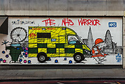 Boarded up East London night shop on Curtain Road painted with mural to support NHS workers during the coronavirus pandemic on the 24th April 2020 in London, United Kingdom.