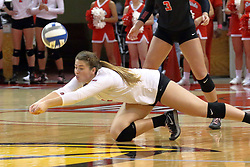 23 October 2015:  Lexi Wallen(14) during an NCAA women's volleyball match between the Wichita State Shockers and the Illinois State Redbirds at Redbird Arena in Normal IL (Photo by Alan Look)