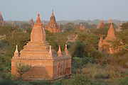 Myanmar Bagan Pagoda temple at sun set