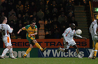 Photo: Ashley Pickering.<br /> Norwich City v Blackpool. The FA Cup. 13/02/2007.<br /> Darren Huckerby (yellow) scores the second for Norwich in injury time (2-1)