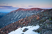 Last light catches two fourteeners, Mount Lincoln 14,286ft and Mount Cameron 14,238ft, Mosquito Range, Colorado.