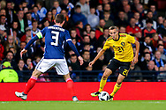 Timothy Castagne (#21) of Belgium takes on Andrew Robertson (#3) of Scotland during the International Friendly match between Scotland and Belgium at Hampden Park, Glasgow, United Kingdom on 7 September 2018.
