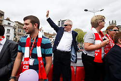 Jon, Steve and Maggie Lansdown greet fans during the Bristol City open top bus parade to celebrate winning both the League 1 and Johnstone's Paint Trophy titles this season and promotion to the Championship - Photo mandatory by-line: Rogan Thomson/JMP - 07966 386802 - 04/05/2015 - SPORT - FOOTBALL - Bristol, England - Bristol City Bus Parade.