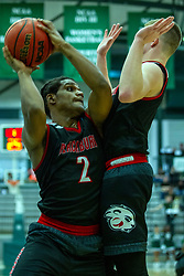 BLOOMINGTON, IL - November 12: Karson Hayes grabs a rebound during a college basketball game between the IWU Titans  and the Blackburn Beavers on November 12 2019 at Shirk Center in Bloomington, IL. (Photo by Alan Look)