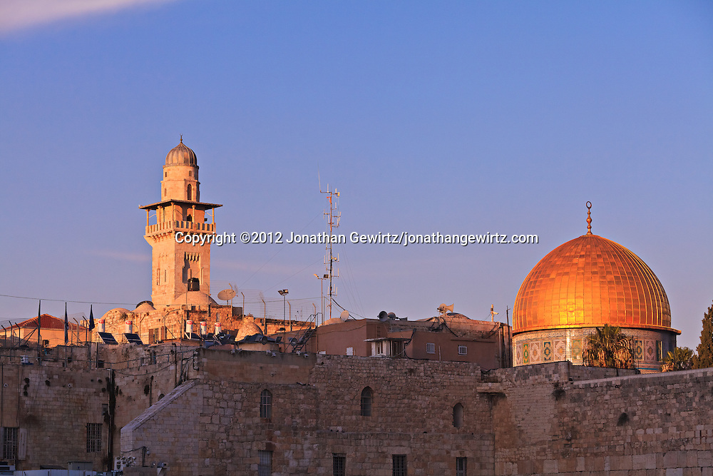 The Dome of the Rock and a nearby minaret are visible from the area of the Western Wall in Jerusalem. WATERMARKS WILL NOT APPEAR ON PRINTS OR LICENSED IMAGES.