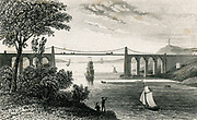 'Thomas Telford's suspension bridge over the Menai straits between Wales and the island of Angelsey, built between 1820 and 1826. Engraving c1845.'