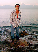 DATE TAKEN: 2/18/96--- Portrait of David Pichler on the beach in Fort Lauderdale. Pichler is interested in pursuing modeling work after the Olympics.