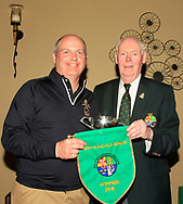 Jim McGovern (President GUI) presents the Irish Schools Senior Pennant to Jack Allen (Manager Team RBAI) after RBAI won the Irish Schools Senior Championship at Portstewart Golf Club, Portstewart, Co Antrim on Tuesday 23rd April 2019.<br /> <br /> Picture:  Thos Caffrey / www.golffile.ie<br /> <br /> All photos usage must carry mandatory copyright credit       (© Golffile | Thos Caffrey)