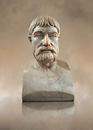 Roman marble sculpture bust of Pindar, 1 130-140 AD from an original mid 5th century BC Hellanistic Greek original, inv 6144, Naples Museum of Archaeology, Italy ..<br /> <br /> If you prefer to buy from our ALAMY STOCK LIBRARY page at https://www.alamy.com/portfolio/paul-williams-funkystock/greco-roman-sculptures.html . Type -    Naples    - into LOWER SEARCH WITHIN GALLERY box - Refine search by adding a subject, place, background colour, museum etc.<br /> <br /> Visit our ROMAN WORLD PHOTO COLLECTIONS for more photos to download or buy as wall art prints https://funkystock.photoshelter.com/gallery-collection/The-Romans-Art-Artefacts-Antiquities-Historic-Sites-Pictures-Images/C0000r2uLJJo9_s0