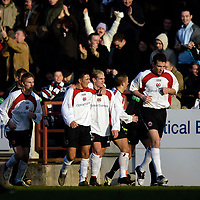 Photo: Jed Wee.<br /> Clyde v Glasgow Celtic. Scottish Cup. 08/01/2006.<br /> <br /> Clyde celebrate their first goal.