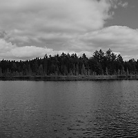 """""""Solitude"""" B&W<br /> <br /> Enjoy this quiet and calming image in black and white of a lake, forest, and cloud filled sky in rural Michigan's Upper Peninsula!!<br /> <br /> Black and White images by Rachel Cohen"""