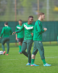 03.05.2013, Weserstadion, Bremen, GER, 1.FBL, Training U23 SV Werder Bremen, im Bild Eljero Elia (SV Werder Bremen #11) und Marko Arnautovic (SV Werder Bremen #7) beim Training mit der U23 des SV Werder Bremen // during the training session of the U23 of the German Bundesliga Club SV Werder Bremen at the Weserstadion, Bremen, Germany on 2013/05/03. EXPA Pictures © 2013, PhotoCredit: EXPA/ Andreas Gumz ***** ATTENTION - OUT OF GER *****