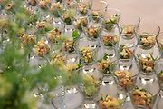 individual servings of Fish cocktails on a buffet table