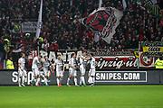 Deutschland, Hamburg. 12.02.16 2. Fussball Bundesliga Saison 2015/16 - 21. Spieltag FC St. Pauli - RasenBallsport Leipzig<br /> im Millerntorstadion<br /> <br /> Jubel von St. Pauli: Torschuetze Marc Rzatkowski (3.v.l.) <br /> <br /> <br /> © Torsten Helmke