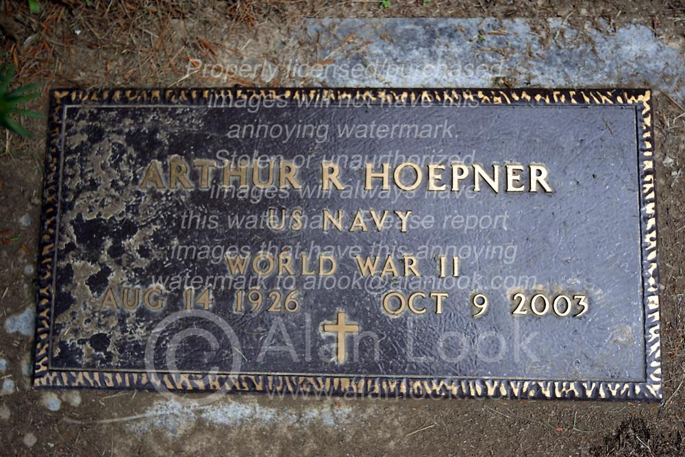 31 August 2017:   Veterans graves in Park Hill Cemetery in eastern McLean County.<br /> <br /> Arthur R Hoepner  US Navy  World War II  Aug 14, 1926  Oct 9, 2003