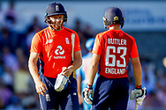 England T20 batsman Jonny Bairstow is out for no score  during the International T20 match between England and India at Old Trafford, Manchester, England on 3 July 2018. Picture by Simon Davies.