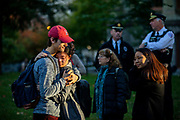 Two students share a hug together during a vigil to mark the tragic deaths at the Tree of Life Synagogue in Pittsburg, at the University of Pennsylvania in Philadelphia, Pennsylvania on October 29, 2018.
