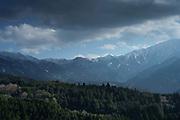 Mountain range over the Kiso Valley, Japan.