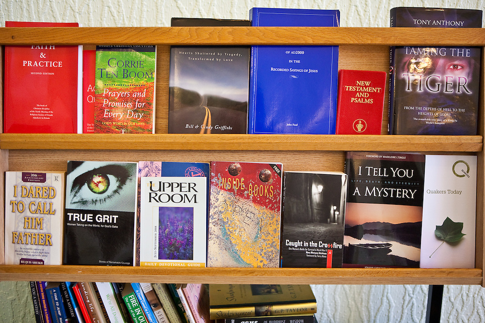 A selection of faith and self help books in the prison chapel. HMP/YOI Askham Grange is a women's open prison serving the Yorkshire area with a capacity of 128 women. It has extensive education, training and mother and Baby facilities.