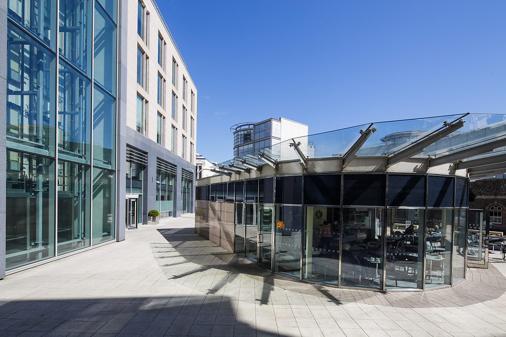 Cafe, apartment buildings and corporate offices in Liberty Wharf, St Helier, Jersey