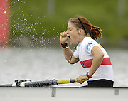 Munich, GERMANY, 2006,GER W8+, Stroke, Elke Hipler, cry's out in joy after the German women's eight win the final.  FISA, Rowing, World Cup, on the Olympic Regatta Course, Munich,Sat.  27.05.2006. © Peter Spurrier/Intersport-images.com,  / Mobile +44 [0] 7973 819 551 / email images@intersport-images.com.[Mandatory Credit, Peter Spurier/ Intersport Images] Rowing Course, Olympic Regatta Rowing Course, Munich, GERMANY