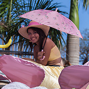 Barangay beauty queen on a float before the Balayong Festival parade. The festival at the beginning of March commemorates the founding anniversary of the City of Puerto Princesa, Palawan, highlighted by balayong tree-planting, street dancing and a colourful floral parade depicting the Palawan cherry blossoms from which the festival derives its name. The Palawan cherry is one of the most popular flowering trees in Palawan and known by the locals as the Balayong, a beautiful tree that when it is in full bloom resembles the cherry blossoms of Japan.