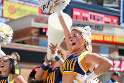 Sep 4, 2021; College Park, Maryland, USA; A West Virginia Mountaineers cheerleader performs during the first quarter against the Maryland Terrapins at Capital One Field at Maryland Stadium. Mandatory Credit: Ben Queen-USA TODAY Sports