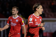 GOAL 1-1Crawley Town forward Tom Nichols (#16) scored from the spot during the EFL Sky Bet League 2 match between Crawley Town and Walsall at The People's Pension Stadium, Crawley, England on 16 March 2021.