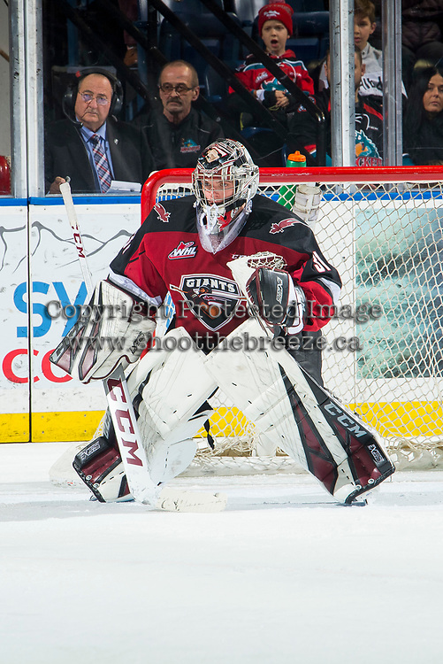 KELOWNA, BC - JANUARY 26:  Trent Miner #31 of the Vancouver Giants defends the net against the Kelowna Rockets at Prospera Place on January 26, 2019 in Kelowna, Canada. (Photo by Marissa Baecker/Getty Images)
