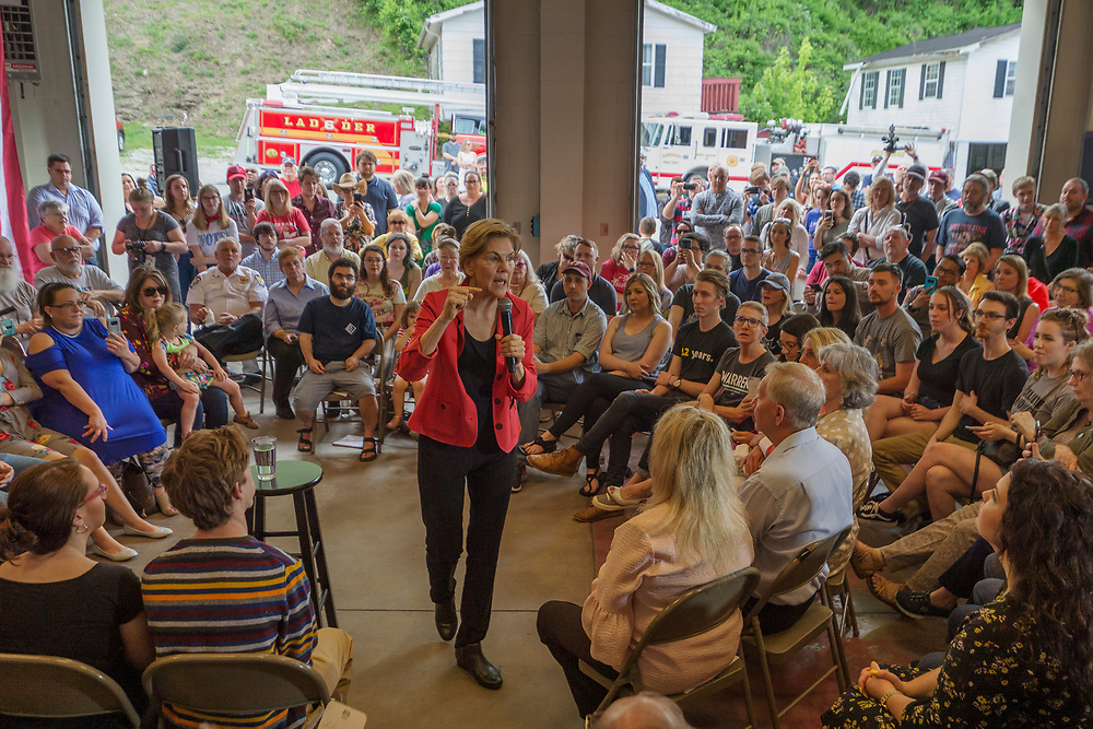 """2020 Democratic presidential candidate Sen. Elizabeth Warren, D-Mass., speaks during a """"community conversation"""" event at the Kermit Fire & Rescue Headquarters Station, Friday, May 10, 2019, in Kermit, W.Va."""
