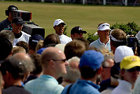 Golf<br /> Foto: SBI/Digitalsport<br /> NORWAY ONLY<br /> <br /> 2005 Open Championship, St. Andrews.<br /> Saturday 16/07/2005<br /> <br /> Tiger Woods and Colin Montgomerie wait to playh at 2nd hole