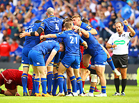 Rugby Union - 2018 Guiness Pro14 - Semi-Final: Leinster vs. Munster<br /> <br /> Leinster players celebrate as match referee Stuart Berry blows for the end of the game, at RDS Arena, Dublin.<br /> <br /> COLORSPORT/KEN SUTTON